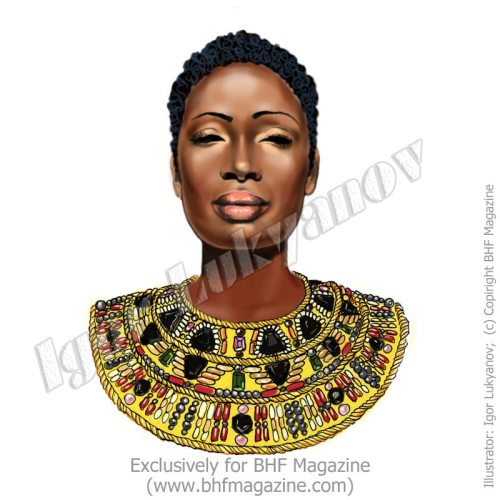 African fashion model illustration by Igor Lukyanov