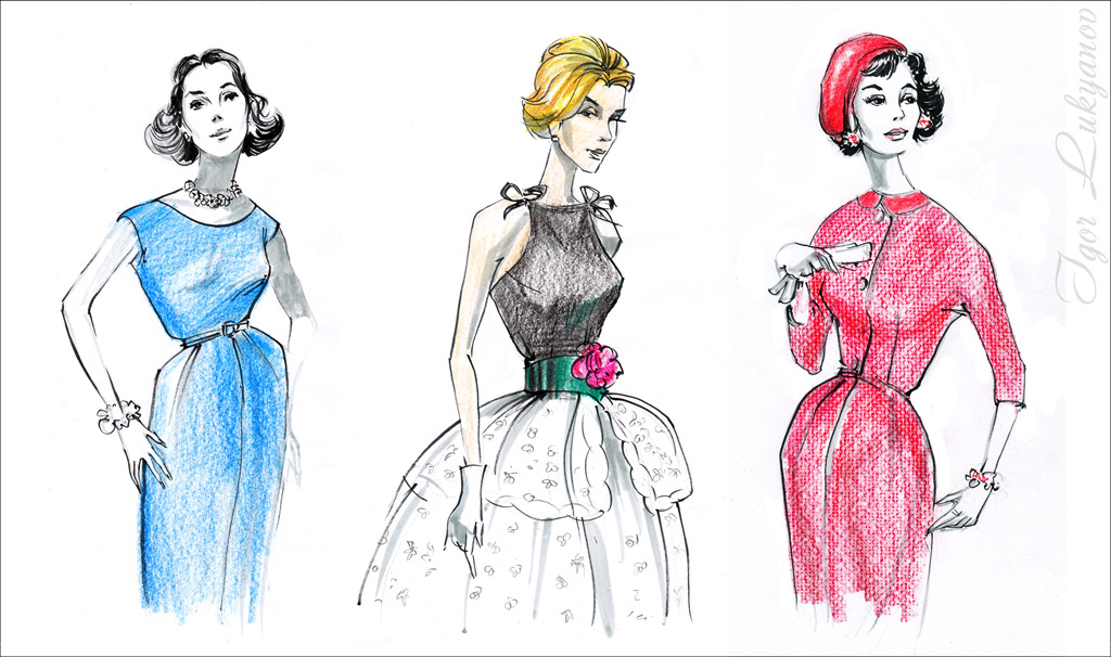 Fashion Of 50s Fashion Illustrations By Igor Lukyanov