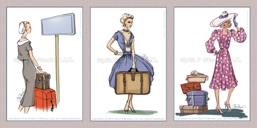 retro fashion luggage tags