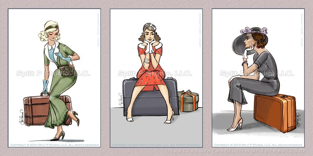 vintage fashion inspired drawings luggage tags fashion