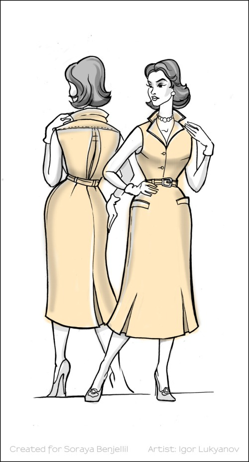 vintage fashion sketch 2