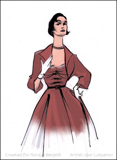 vintage fashion sketch 1